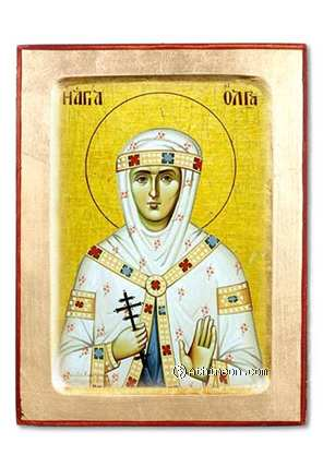 Saint Olga, princess of Russia wooden carved icon - 30×40