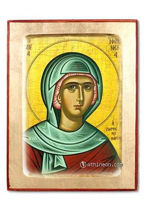Saint Iphigenia wooden carved icon - 14×18