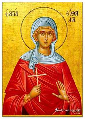 Saint Euthalia hand painted icon - 25×35
