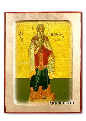 Saint Philaretos the Merciful wooden carved icon - 14×18