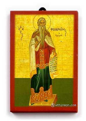 Saint Philaretos the Merciful wooden icon - 10×16