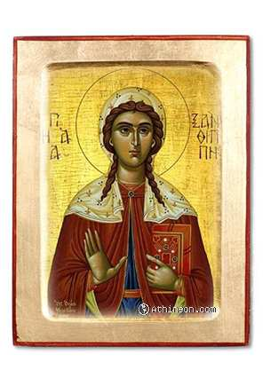 Saint Xanthippa wooden carved icon - 14×18