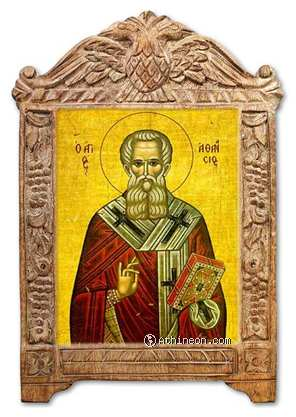 Saint Athanasius the great on carved wood