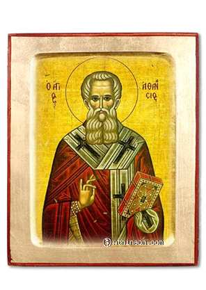 Saint Athanasius the great wooden carved icon - 30×40