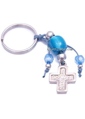 Cross Keychain with Bead